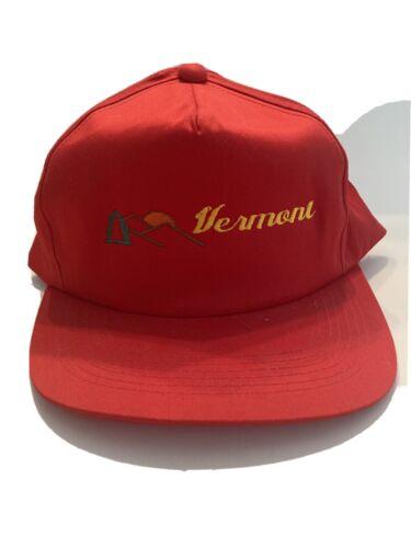 Vintage Red Vermont Snap Back Hat, J Hats, Embroid