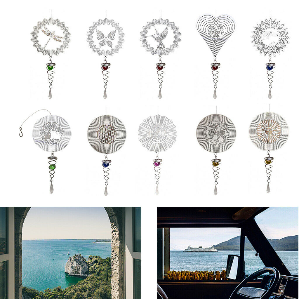 Outdoor 3D Metal Hanging Wind Spinner with Hook Spiral Home Patio Decoration