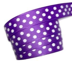 "3 yards Purple polka dot print 5//8/"" grosgrain ribbon by the yard DIY"