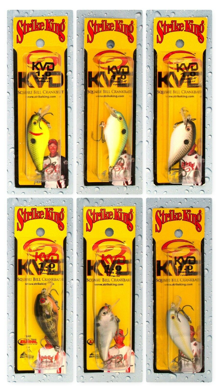 (6) Different Strike King KVD 1.0 Square Bill 2  Crankbaits 1 4 Oz Brand New