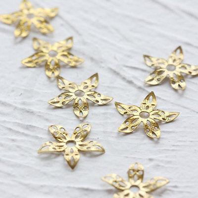 3898C 15.8mm 40 Pieces Raw Brass Flower Bead Cap