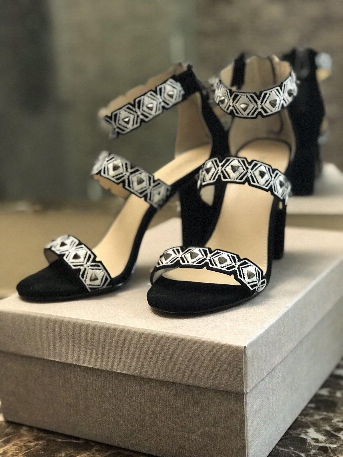 178 sz 7.5 Botkier Gigi Blk Suede Heel Ankle Strap Embellished Womens Sandals