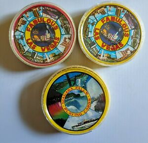 3 Vintage Souvenir ROUND PLAYING CARDS 2 - LAS VEGAS  1 - NIAGRA FALLS lot of 3