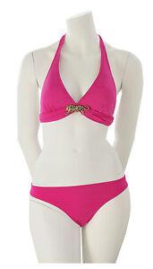 Rebecca-Bikini-Set-Triangel-Schale-Neckholder-Strass-Tiger-Pink-M-38-B