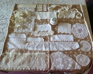 Antique-19thC-French-Doll-Bundling-Group-Hand-Embroidery-18-pcs-Dolls