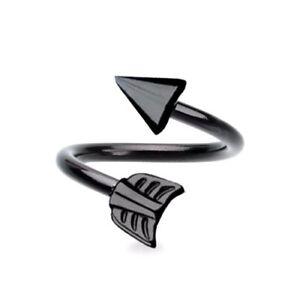 14G BLACK STEEL ARROW SPIKE SPIRAL BELLY RING TWISTERS EAR NAVEL LIP NIPPLERINGS
