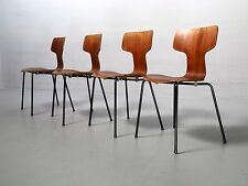 Rarität: 4x Arne Jacobsen Stuhl 3103, Fritz Hansen, Teak Hammer Chair Vintage