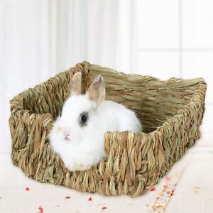 Tejido-hierba-Small-Pet-conejo-hamster-cobaya-jaula-Nido-Casa-de-Juguete-para-morder-Cama-Orn