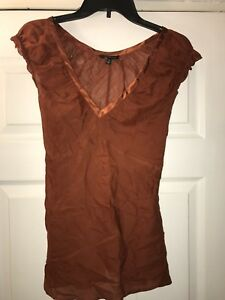 womens-the-limited-Sheer-short-sleeve-v-neck-rust-blouse-top-tie-back-SZ-M