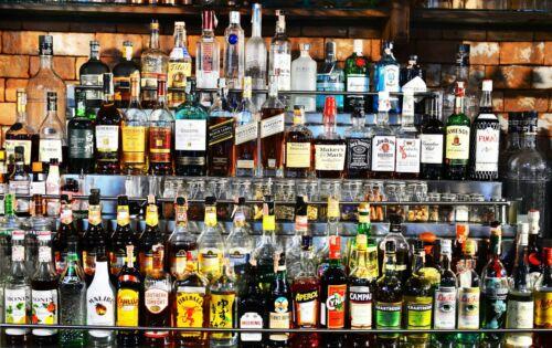 VLIES Fototapete-BAR- -Vintage Retro Bistro Pub Flaschen Abstrakt Design 4801V