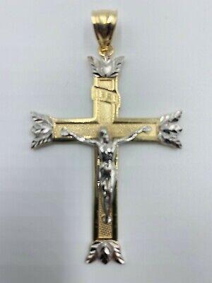 10K Two-Tone Gold Crucifix Charm Pendant