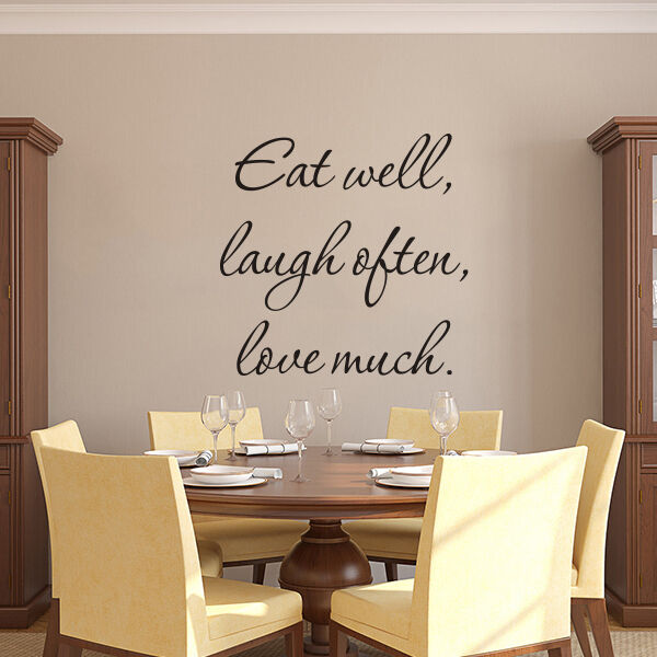 Kitchen Wall Decal Inspiration Eat Well Laugh Often Love Much Quote Vinyl Decor Ebay