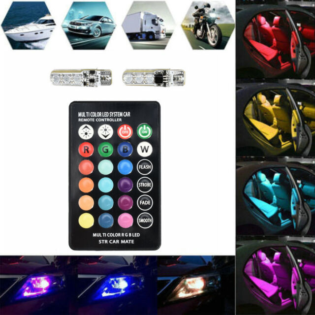 2PCS W5W T10 5050 6SMD RGB LED Multi Color Light Car Wedge Bulbs Remote Control