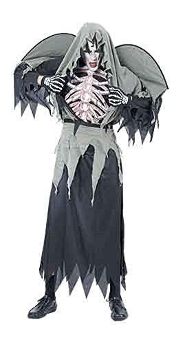 Adulti Donna Da Uomo Halloween Costume Scheletro WARLOCK unica si adatta 8-14 Nero