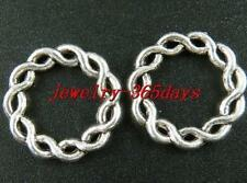 50 Silver/Bronze Twisted Circle Link Connectors 20.5x2.5mm 274