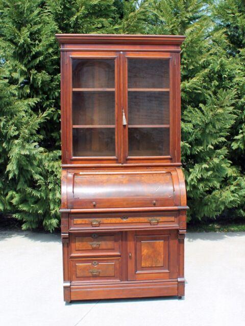 Walnut & Burl Victorian Eastlake Cylinder Roll Secretary Desk  Bookcase Top wKey