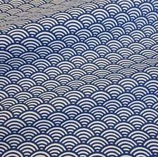 Stoff Baumwolle Japan blau weiß Wellen Seigaiha gemustert Neu Meterware