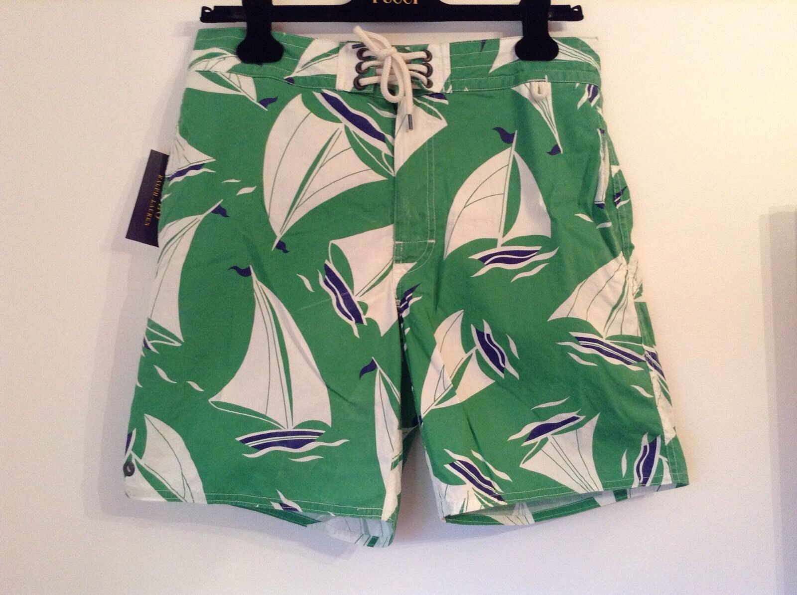 BNWT 100% Auth POLO RALPH LAUREN Mens PALM ISLAND Shorts, Swim Trunks.