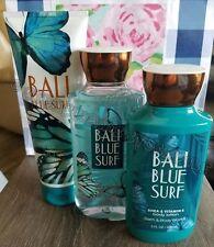 BATH & BODY WORKS BALI BLUE SURF CREAM GEL LOTION 3 PC SET MANDARIN COCONUT OIL