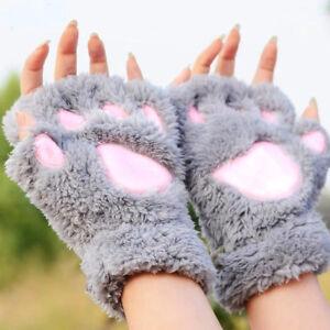 Frauen-Winter-Pluesch-Baer-Katze-Pfote-Klaue-Kurze-Halbe-Finger-Handschuhe-NEU