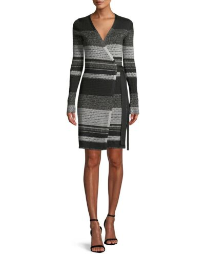 DVF Long Sleeve Metallic Striped Wrap Dress Sixe X