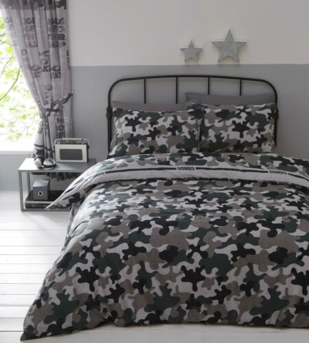 Grey Green Duvet Cover Camouflage Army Inspired Khaki Reversible Quilt Cover Set