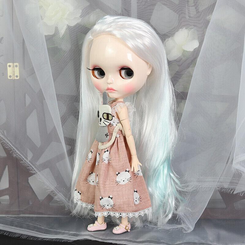 12  Neo Blythe muñeca de fábrica cuerpo articulado Pelo blancoo Azul Mezcla con maquillaje