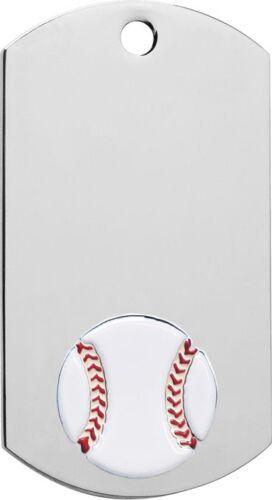 """2/"""" Baseball Dog Tag award on 30/"""" Chain or 1/"""" key ring  Free engraving 39130"""