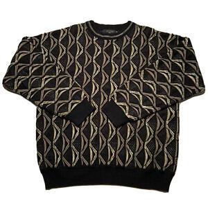 Vintage-90s-Protege-Herren-Groesse-Large-Pullover-strukturiert-Bill-Cosby-Style-schwarz
