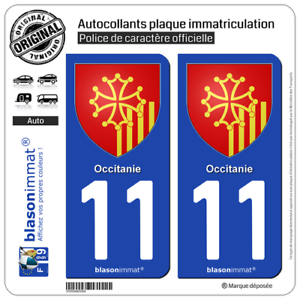 Armoiries 2 Stickers autocollant plaque immatriculation Auto 11 Occitanie
