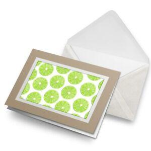 Greetings-Card-Biege-Juicy-Green-Limes-Fruit-Fun-2670