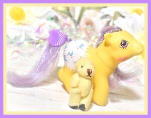 My-Little-Pony-MLP-G1-Vtg-1987-Baby-Fancy-Pants-Baby-Splashes-Yellow-Purple