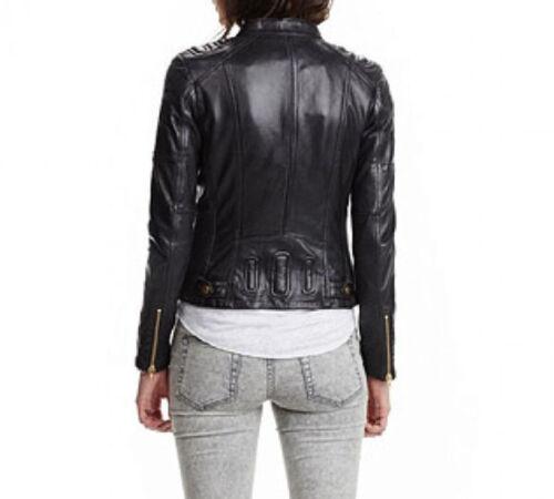 Women/'s Black Cafe Racer Genuine Leather Motorcycle Slim fit Rave Biker Jacket