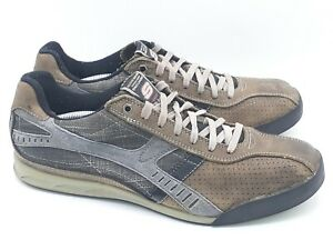 skechers trade mark 92 brown leather casual sneakers mens