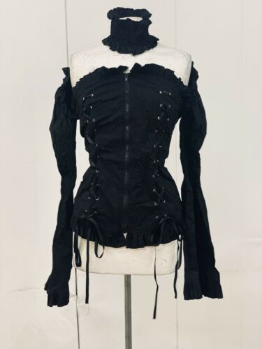 With Gothic Ml Black Neck Raven Piece Elasticated Top RfUtxaaBF