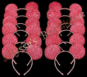 Details About Minnie Mickey Mouse Ears Headbands 12 Pc Shiny Pink Birthday Party Costume Diy