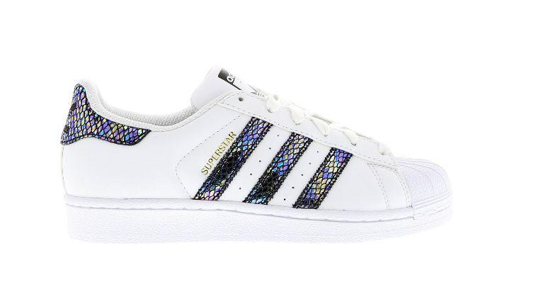 Adidas Superstar GS Weiß Iridescent Snake Stripes Größes UK 3-6