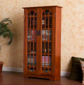 Image Is Loading Vintage Display Cabinet Wooden Gl Doors Tall Cupboard