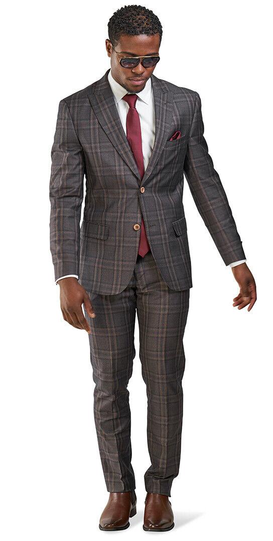 Slim Fit 2 Button Mens Suit Bronze Windowpane Plaid Peak Lapel 35071 AZARMAN