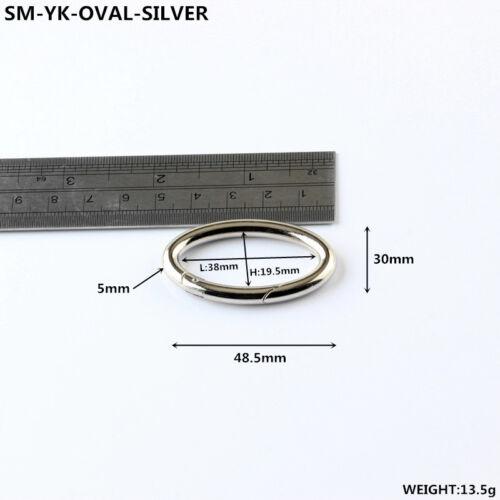 Oval Shape Spring Push Gate Snap Handbag Clip Clasps Key Holder Carabiners 1-100