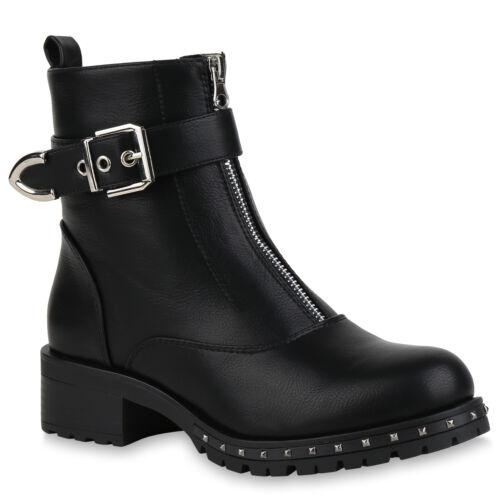 Damen Stiefeletten Biker Boots Schuhe Booties Nieten 824249 Trendy Neu