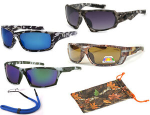 Mens-Sports-Wrap-Military-Camouflage-Camo-Sunglasses-POLARIZED-Outdoor-Hunting