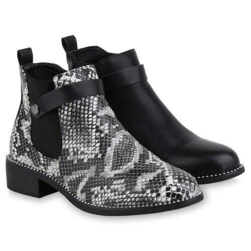 Damen Stiefeletten Ankle Boots Gefütterte Booties Ketten 831771 Schuhe
