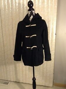 Womens-Gap-Black-Hooded-Coat-With-Toggles-Pockets-Size-Medium