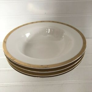 Lot-of-4-Pier-1-Gold-Band-White-Holiday-Rimmed-Soup-Bowls-8-5-034