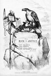 MEXICAN SCARECROW ROCK OF JUSTICE CENTENNIAL EAGLE AND EAGLETS BY THOMAS NAST