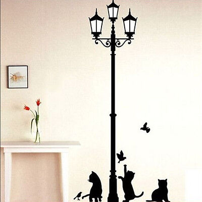 Removable Black Lamp & Cat Bird Wall Sticker Decals Home Decor Vinyl Art New