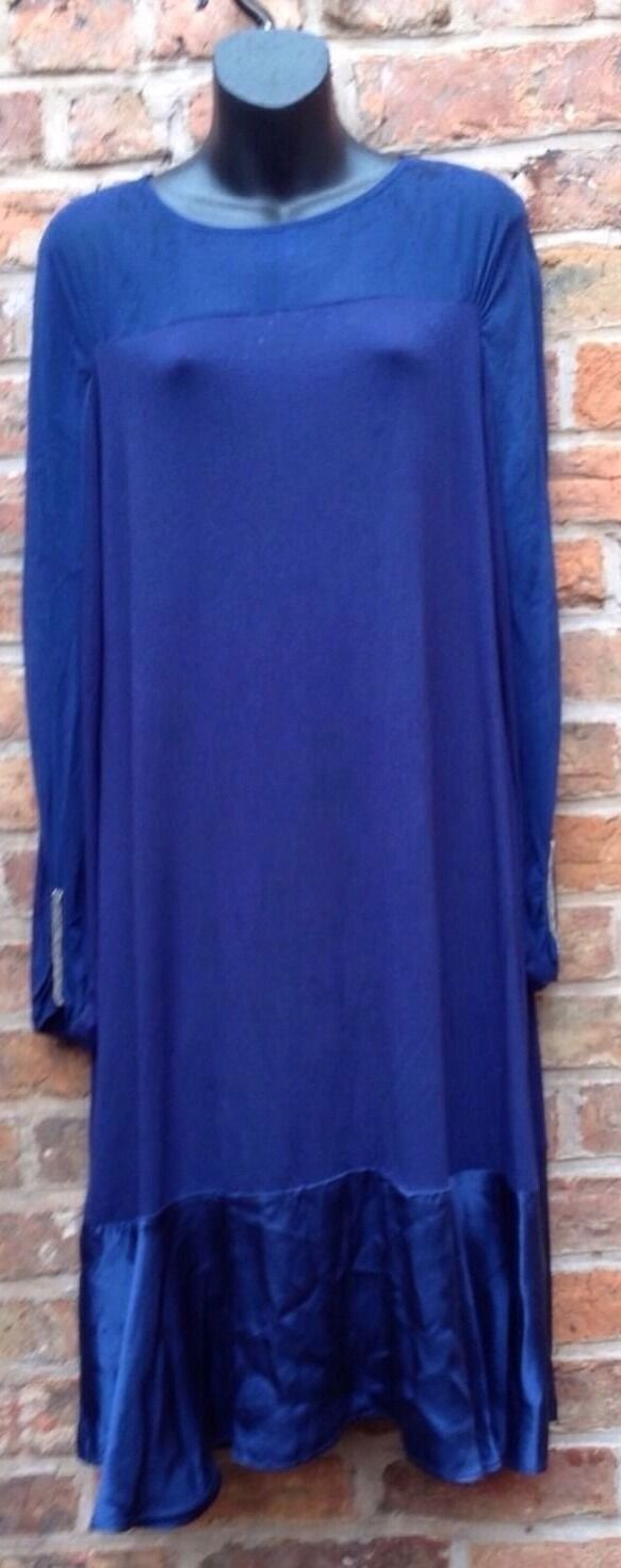 NOUGAT. Ladies  Dress, STRETCH Jersey Style, With SILK.bluee. Size M-L•UK• SELLER