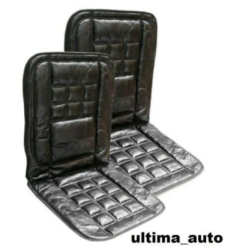 2 X Orthopaedic Leather Black Car Front Seat Pair Covers Protect Back Support