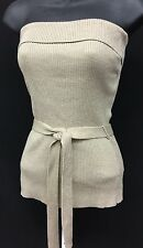 New York & Company Metallic Gold Strapless Sweater Women's Belted Tube Top Sz M